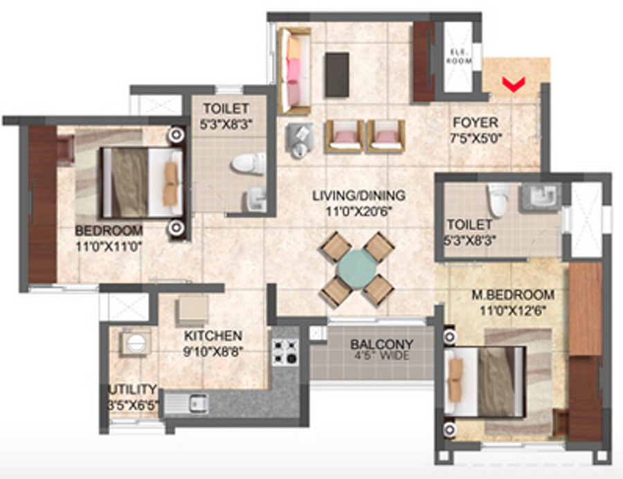 1068 sqft floorplan