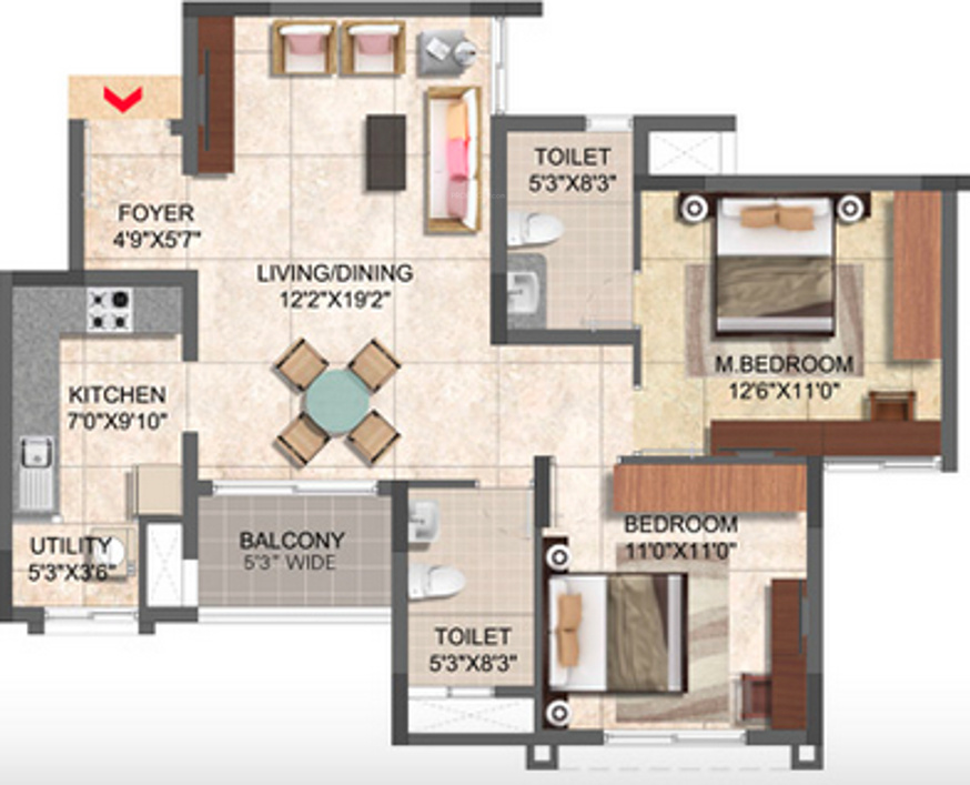 1047 sqft floorplan