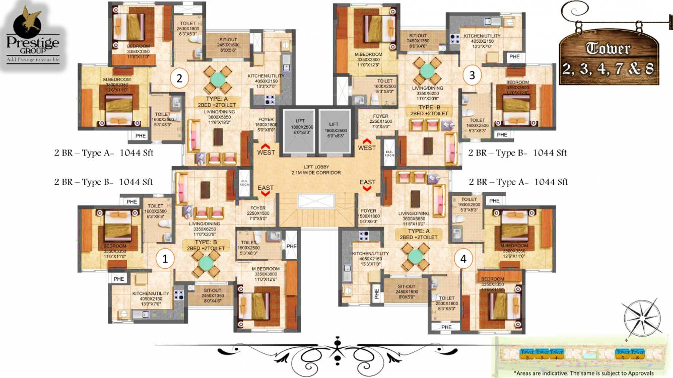 1044 sqft floorplan