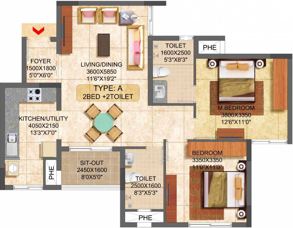 1043 sqft floorplan
