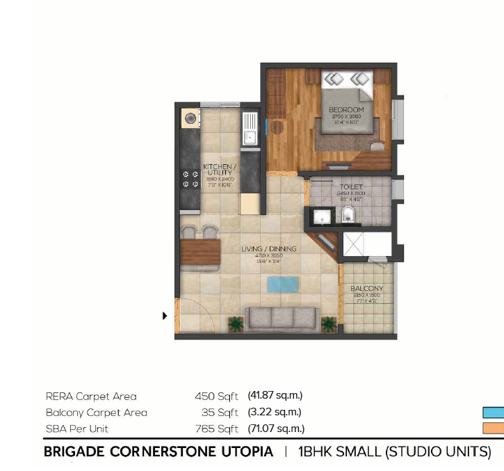 765 sqft floorplan