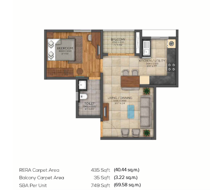 749 sqft floorplan