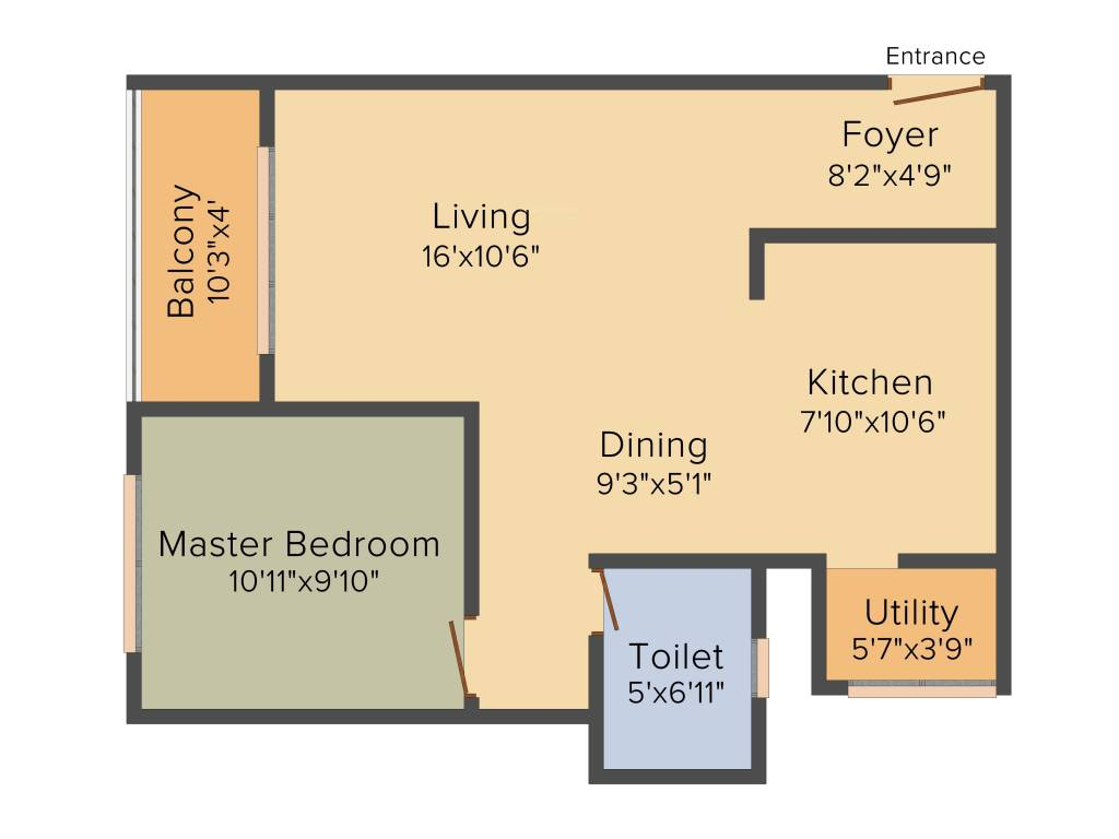 840 sqft floorplan