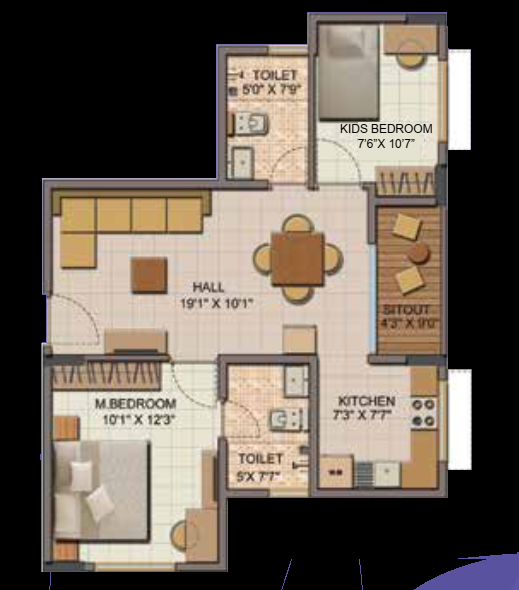 850 sqft floorplan